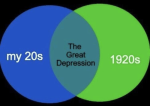 I see this as an absolute relatable via /r/memes http://bit.ly/2ZgGK4u: The  Great  Depression  my 20s  1920s I see this as an absolute relatable via /r/memes http://bit.ly/2ZgGK4u