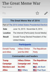 ~conman: The Great Meme War  Page issues  The Great Meme War of 2016  Part of The 2016 United States Presidential Election  Date  June 16, 2015 November 8, 2016  Location  The Internet (Particularly Social Media)  Result  Donald Trump Elected President of the  United States.  Participants  Donald Trump  Hillary Clinton  The Republican  and Allies  and the DNC  Party  Commanders and leaders  Trump  Hillary Clinton  The Republican  Campaign  Campaign and Party  Jeb Bush  Members and  the DNC  Hillary Paul Ryan  Allies ~conman