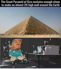 Trendy, Pyramid, and Container: The Great Pyramid of Giza contains enough stone  to make an almost 2ft high wall around the Earth Bruh @mymoistmemes