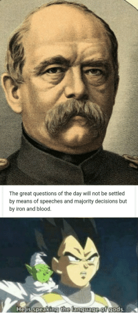 Germany, History, and Decisions: The great questions of the day will not be settled  by means of speeches and majority decisions but  by iron and blood  Nelis speaking the lanquagelof gods