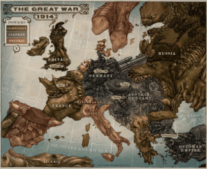 The great war, 1914. By Kieth Thompson: -THE GREAT WAR  POWERS  DARWINIST  CLANKER  NEUTRAL  NORT  SEA  RUSSIA  BRITAIN  Londo  Berlin  GERMANY  Prague  Oo  Paris  TLANTIC OCEAN  ADESTREAO  HUNGARY  Vienna  S WINZERLAND  FRANCE  TAL  BLACK  SERBIA  Constantinople  MEDITERRANEAN  OTTOMA  A E M PIRE  SE  ALGERIA  www.keiththompsonart.com The great war, 1914. By Kieth Thompson