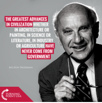 Milton Friedman Is Spot On Here... #BigGovSucks: THE GREATEST ADVANCES  IN CIVILIZATION WHETHER  IN ARCHITECTURE OR  PAINTING, IN SCIENCE OR  LITERATURE, IN INDUSTRY  OR AGRICULTURE HAVE  NEVER COME FROM  GOVERNMENT  MILTON FRIEDMAN  nN  TUINIUSA  POINT USA Milton Friedman Is Spot On Here... #BigGovSucks