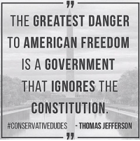 Memes, Thomas Jefferson, and Constitution: THE GREATEST DANGER  TO AMERICAN FREEDOM  IS A GOVERNMENT  THAT IGNORES THE  CONSTITUTION  #CONSERVATIVEDUDES THOMAS JEFFERSON RE-POST IF YOU AGREE!