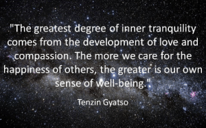 """Love, Compassion, and Happiness: The greatest degree of inner tranquility  comes from the development of love and  compassion. The more we care for the  happiness of others, the greater is our own  sense of Well-being.""""  Tenzin Gyatso"""