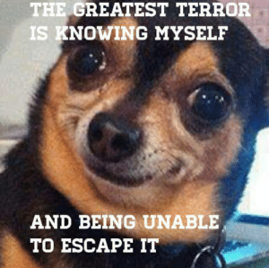Terrorized: THE GREATEST TERROR  S KNOWING MYSELF  AND BEING UNABLE  TO ESCAPE IT