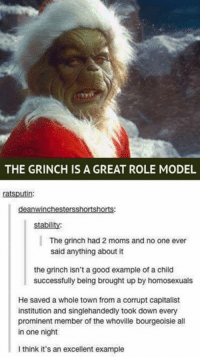 prominence: THE GRINCH IS A GREAT ROLE MODEL  in:  deanwinchestersShortshorts:  stability:  The grinch had 2 moms and no one ever  said anything about it  the grinch isn't a good example of a child  successfully being brought up by homosexuals  He saved a whole town from a corrupt capitalist  institution and singlehandedly took down every  prominent member of the whoville bourgeoisie all  in one night  I think it's an excellent example