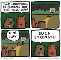 Im Gay: THE GROUNDHOG  IS COMING OUT  FOR THIS YEAR!  I'm  GAY  GROUND  HO  O Stewart matzek  GROUND  H06  DEN  SUCH  STRENGTH  http://amateurhourcomics.com