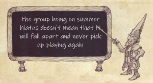 Fall, Summer, and Mean: the group being  hiatus doesn't mean that M  will fall apart and never pick  up playing again  on summer It has happened before