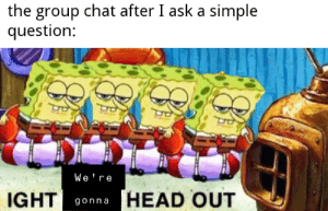 Meirl: the group chat after I ask a simple  question:  We re  HEAD OUT  IGHT  gonna Meirl