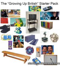 "Growing Up, Memes, and Snapchat: The ""Growing Up British"" Starter Pack  starterpackmemes Com Throwback  Snapchat: ironic.meme"