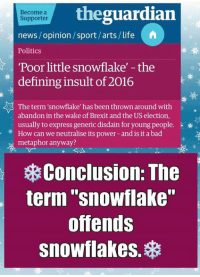 """Memes, Politics, and Sports: the guardian  Become a  Supporter  news/opinion/sport/arts/life  A  Politics  Poor little snowflake' -the  defining insult of 2016  The term 'snowflake' has been thrown around with  abandon in the wake of Brexit and the US election,  usually to express generic disdain for young people.  k  can we neutralise power- and metaphor anyway?  Conclusion: The  term """"snowflake""""  offends  snowflakes. (MW) Carry On."""