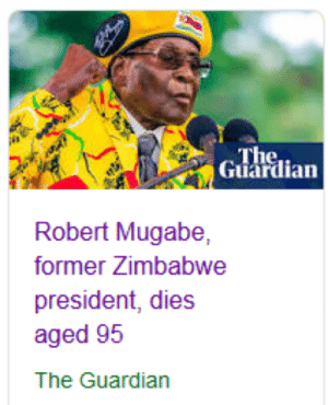 🦀 STEPPER IS GONE 🦀: The  Guardian  Robert Mugabe,  former Zimbabwe  president, dies  aged 95  The Guardian 🦀 STEPPER IS GONE 🦀