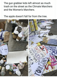 Apple, Fall, and Memes: The gun grabber kids left almost as much  trash on the street as the Climate Marchers  and the Women's Marchers.  The apple doesn't fall far from the tree.  2 Hmm....