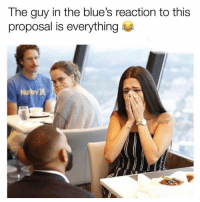 Funny, Lol, and Blues: The guy in the blue's reaction to this  proposal is everything  Hu  ey) Lol 😂