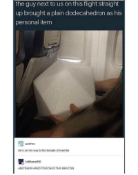Flight, Dank Memes, and Personal: the guy next to us on this flight straight  up brought a plain dodecahedron as his  personal item  gudroo  he's on his way to the temple of meridia  trilllizard420  ANOTHER HAND TOUCHES THE BEACON