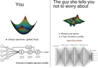 "Reddit, Net, and Com: The guy she tells you  not to worry about  You  o Multiple local optima  o In high dimensions possibly  o Unique optimum: global/local.  Deep neural network  input laver  Wo  Error  output  X2  Net input  function  Activation  function  Unit step.  function  Schematic of a logistic regression classifier. <p>[<a href=""https://www.reddit.com/r/surrealmemes/comments/7fp1hg/bow_before_o_p_t_i_m_a/"">Src</a>]</p>"