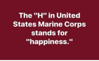 "H: The ""H"" in United  States Marine Corps  stands for  ""happiness."""