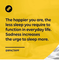 Know what you don't know. credit: @8factapp: The happier you are, the  less sleep you require to  function in everyday life.  Sadness increases  the urge to sleep more.  @8FACTAPP Know what you don't know. credit: @8factapp