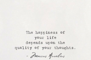 Life, Happiness, and Depends: The happiness of  your life  depends upon the  quality of your thoughts