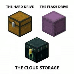 Ahh yes: THE HARD DRIVE  THE FLASH DRIVE  THE CLOUD STORAGE Ahh yes
