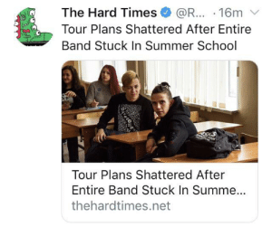 School, Summer, and Angel: The Hard Times  @R... 16m  Tour Plans Shattered After Entire  Band Stuck In Summer School  Un  Tour Plans Shattered After  Entire Band Stuck In Summe...  thehardtimes.net  SAA Death Angel (1982)