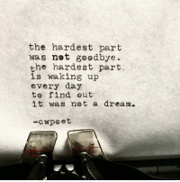 goodbye: the hardest part  was not goodbye  the hardest part  is waking up  every day  to find out  it was not a dream.  -cwpeet