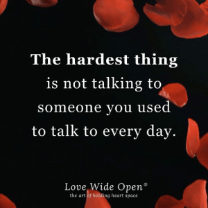 "Love, Memes, and Heart: The hardest thing  is not talking to  someone you used  to talk to every day.  Love Wide Open""  the art of holding heart space"