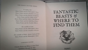 daily-harrypotter-world:  I started reading Fantastic Beasts (from the Hogwarts Library books)…: THE HARRY POTTER SERIES  In reading order:  Harry Potter and the Philosopher's Stone  Harry Potter and the Chamber of Secrets  Harry Potter and the Prisoner of Azkaban  Harry Potter and the Goblet of Fire  Harry Potter and the Order of the Phoenix  Harry Potter and the Half-Blood Prince  Harry Potter and the Deathly Hallows  FANTASTIC  BEASTS  WHERE TO  FIND THEM  Also available in Latin:  Harry Potter and the Philosopher's Stone  Harry Potter and the Chamber of Secrets  Also available in Welsh, Ancient Greek and Irish:  Harry Potter and the Philosopher's Stone  COMPANION VOLUMES  Fantastic Beasts and Where to Find Them  Quidditch Through the Ages  NEWT  c Coutic Relief) daily-harrypotter-world:  I started reading Fantastic Beasts (from the Hogwarts Library books)…