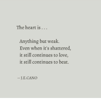 Love, Heart, and Beat: The heart is  . . .  Anything but weak.  Even when it's shattered,  it still continues to love,  it still continues to beat.  J.E.CANO