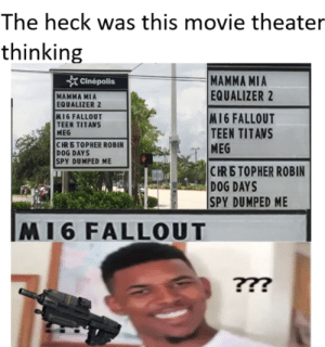 Teen Titans, Equalizer, and Fallout: The heck was this movie theater  thinking  MAMMA MIA  EQUALIZER 2  cinépolis  MAMMA MIA  EQUALIZER 2  M16 FALLOUT  TEEN TITANS  MEG  CRETOPHER ROBIN  DOG DAYS  SPY DUMPED ME  M16 FALLOUT  TEEN TITANS  CRETOPHER ROBIN  DOG DAYS  SPY DUMPED ME  M16 FALLOUT Did they not check this first