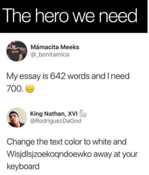 Oh my God by PonzuBees MORE MEMES: The hero we need  Mámacita Meeks  @_bonitamica  My essay is 642 words and I need  700  King Nathan, XVI  @RodriguezDaGod  Change the text color to white and  Wisjdlsjzoekogndoewko away at your  keyboard Oh my God by PonzuBees MORE MEMES