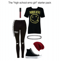 """Very accurate😂💀Tag some friends 👇🏻 igers lmao haha lol starterpacks Photo Cred: @whippedcreamcheese: The """"high school emo girl"""" starter pack  NIRVANA  X X Very accurate😂💀Tag some friends 👇🏻 igers lmao haha lol starterpacks Photo Cred: @whippedcreamcheese"""