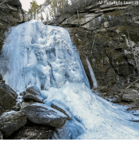 Frozen, Memes, and 🤖: The High Shoals Falls at South Mountains State Park have frozen over as a result of below freezing temperatures.
