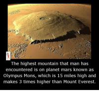 Memes, Mount Everest, and Mars: The highest mountain that man has  encountered is on planet mars known as  Olympus Mons, which is 15 miles high and  makes 3 times higher than Mount Everest.