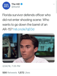 <p>Bahahaha what in the shit?</p>: THE  HILL  The Hill  @thehill  Florida survivor defends officer who  did not enter shooting scene: Who  wants to go down the barrel of an  AR-15? hillcm/le7qEOd  US  2/24/18, 7:25 PM  500 Retweets 1,572 Likes <p>Bahahaha what in the shit?</p>
