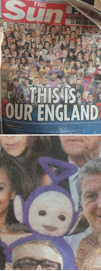 England, Sports, and Target: THE  HISTORICED  22 MILLION HOM  Thursday, June 12, 2014  FREE  thesun.co.uk  THISS  OUR ENGLAND  sky SPORTS BIG IDEAS gaydream-believer:  shotguntork:  I would like to know why Tinky Winky is considered a national icon  I would like to know why you think Tinky Winky shouldn't be considered a national icon