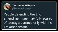 2nd Amendment, Resistance, and The Resistance: The Hoarse Whisperer  @HoarseWisperer  People defending the 2nd  amendment seem awfully scared  of teenagers armed only with the  1st amendment. The Resistance