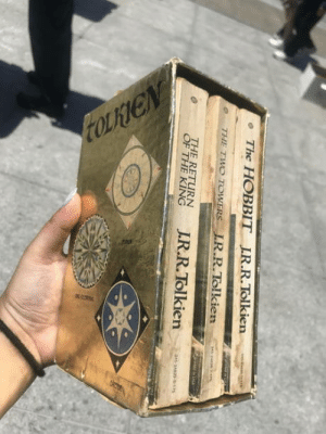 Found at a book sale in front of the San Fransisco Public Library today!: The HOBBIT IR.R.Tolkien  e THE TWO TOWERS LR.R.Tolkien  THE RETURN  en Found at a book sale in front of the San Fransisco Public Library today!