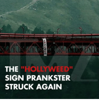 """The Hollyweed sign prankster struck again ... this time with Donald Trump! hollywood trump donaldtrump tmz sanfrancisco goldengatebridge: THE  """"HOLLY WEED""""  SIGN PRANKSTER  STRUCK AGAIN The Hollyweed sign prankster struck again ... this time with Donald Trump! hollywood trump donaldtrump tmz sanfrancisco goldengatebridge"""