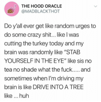 "Crazy, Driving, and Huh: THE HOOD ORACLE  @MADBLACKTHOT  Do y'all ever get like random urges to  do some crazy shit.. like l was  cutting the turkey today and my  brain was randomly like ""STAB  YOURSELF IN THE EYE"" like sis no  tea no shade what the fuck.... and  sometimes when I'm driving my  brain is like DRIVE INTO A TREE  like huh whoops"