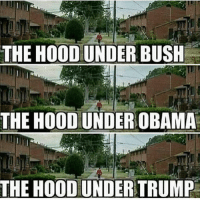 Memes, Obama, and The Hood: THE HOOD UNDER BUSH  THE HOOD UNDER OBAMA  THE HOOD UNDER TRUMP They don't give a fuck about you