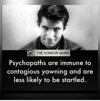 Creepy, Memes, and Contagious: THE HORROR GIVER  Psychopaths are immune to  contagious yawning and are  less likely to be startled. 💀Follow @thehorrorgiver for more!💀 . * 👻ᴛᴀɢ ғʀɪᴇɴᴅs ᴛᴏ ɢɪᴠᴇ ᴛʜᴇᴍ ᴀ sᴄᴀʀᴇ 😈 . * ᴛᴜʀɴ ᴏɴ ᴘᴏsᴛ ɴᴏᴛɪғɪᴄᴀᴛɪᴏɴs ᴅᴏɴ'ᴛ ᴍɪss ᴀ ᴘᴏsᴛ! 😱. . * ᴅᴏᴜʙʟᴇ ᴛᴀᴘ 🖤 . * ɢɪᴠᴇ ᴜs ᴀ ғᴏʟʟᴏᴡ 👽 ________________________________ . . IGNORE THE TAGS . _________________________________ scary creepy creepyfact scarystories scaryfact scaryfacts conspiracy conspiracytheory haunted paranormal supernatural horror