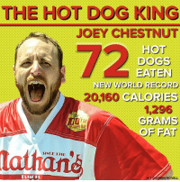 Dogs, Memes, and Record: THE HOT DOG KING  JOEY CHESTNUT  72  HOT  DOGS  NEW WORLD RECORD  20,160 CALORIES  GRAMS  1,296  OF FAT  SINCE 1916  la  H/T DARREN ROVELL Joey Chestnut dominates hot dogs.