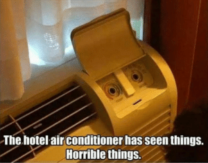 Tumblr, Air Conditioner, and Blog: The hotel air conditioner has seen things.  Horrible things. sickhumor:  Bug eyed