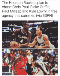 The Rockets are looking to make a splash this offseason and are trying to unload Ryan Anderson, Lou Williams, and Patrick Beverly to create more space (via @ballershype) 😰 ➡Snapchat 👻 - ballershype ➡TURN ON POST NOTIFICATIONS 💥 ➡ FOLLOW @ballershype❗ Tags: nba nbamemes: The Houston Rockets plan to  chase Chris Paul, Blake Griffin,  Paul Millsap and Kyle Lowry in free  agency this summer. (via ESPN)  ATLANTA The Rockets are looking to make a splash this offseason and are trying to unload Ryan Anderson, Lou Williams, and Patrick Beverly to create more space (via @ballershype) 😰 ➡Snapchat 👻 - ballershype ➡TURN ON POST NOTIFICATIONS 💥 ➡ FOLLOW @ballershype❗ Tags: nba nbamemes
