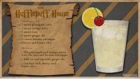 Garnishment: THE  Hufflepuff House  Ingredients:  1 ounce pineapple juice  1 ounce orange juice  I ounce rum  1 ounce ginger ale  34ounce banana schnapps  ery and lemon slice  Directions:  . Mix pineapple and orange juices  with the rum and banana schnapps.  2. Add ice and top with ginger ale.  Garnish with cherry and  5.  lemon slice  Mashable