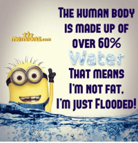 Memes, 🤖, and Human: THE HUMAN BODY  IS MADE UP OF  OVER 60%  THAT MEANS  I'm NOT FAT,  I'm JUST FLOODED! 😉