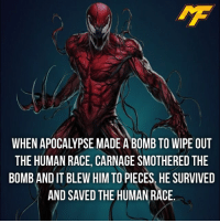 Memes, SpiderMan, and Superhero: THE HUMAN RACE, CARNAGE SMOTHERED THE  BOMBANDIT BLEW HIM TO PIECES. HE SURVIVED  AND SAVED THE HUMAN RACE. |- Give Carnage a superhero name in the comments👇🏼 -| - - - marvel marveluniverse dccomics marvelcomics dc comics hero superhero villain xmen apocalypse xmenapocalypse spidermanhomecoming mcu doctorstrange spiderman deadpool meme captainamerica ironman teamcap teamstark teamironman civilwar captainamericacivilwar marvelfact marvelfacts fact christmas