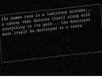 Cancer, Race, and Human: the human race is a ludicrous mistake...  a cancer that devours itself along with  everything in its path... the destroyer  must itself be destroyed in a torre