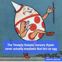 Memes, 🤖, and Com: The 'Humpty Dumpty nursery rhyme  never actually mentions that he's an egg  (a FACTS l guff-com Mind. Blown.